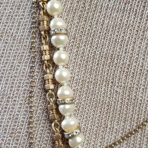 J. Crew Jewelry - J.Crew Necklace Burnished Gold Pearl Multi chain